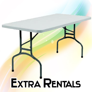 Tables chairs generators party rentals